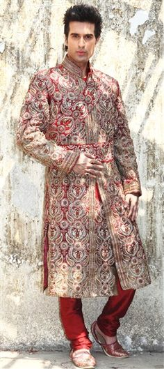 11200, Sherwani, Art Dupion Silk, Kasab, Red and Maroon Color Family