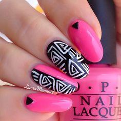 vibrant pink black and white mani