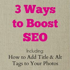 3 Ways to Boost SEO plus How to Add Title and Alt Tags to Your Photos