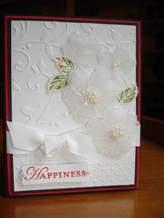 Wedding Card with Vellum Flowers by houstonarmymom - Cards and Paper Crafts at Splitcoaststampers