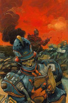 Sci-Fi Art: Enki Bilal's 1977 cover art for Ray Bradbury's Fahrenheit Heavy Metal, October 1983 Comic Book Artists, Comic Artist, Comic Books Art, Enki Bilal Bd, Illustrations, Illustration Art, Cover Art, Art Science Fiction, 70s Sci Fi Art