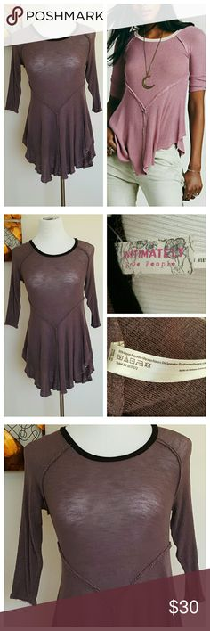 "FREE PEOPLE Weekend Layering Purple Top Intimately Free People top, size small. Asymmetrical Purple tunic with black scoop neckline. Thin, sheer material for layering look. Very soft, stretchy & lightweight material (95% Rayon/5% Spandex). 36"" Bust, 30"" Waist, 22-30"" Length. Very good condition! Free People Tops Tunics"