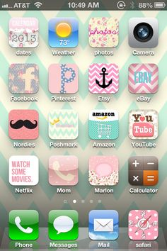 iPhone app CocoPPa. With patience, google searches, and a little time....my phone is adorbs!! Phone Organization, Organization Ideas, Watercolor Wallpaper, Phone Messages, Phone Icon, Iphone App, Girly Girl, Homescreen, Crosses