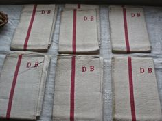 6pc Antique French Tea Towels Monogram DB Linen by BrocanteArt