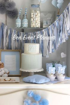 Blue shabby chic baptism party! See more party planning ideas at CatchMyParty.com!