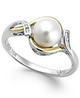 Cultured Freshwater Pearl (7mm) and Diamond Accent Ring in Sterling Silver and 10k Gold