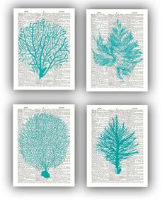 Sea-foam green, fan coral prints on recycled dictionary pages - PrintLand on Etsy