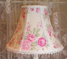 #lampshade with Wildflower Fabric and a house inc rosebud