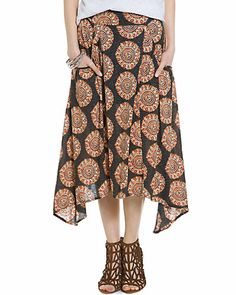 """Free People """"Flip It And Reverse It"""" Black Combo Printed Midi Skirt, 39.90$ from 88$"""