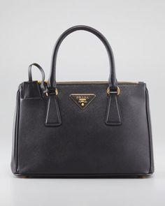 Mini Saffiano Lux Tote Bag, Black by Prada at Neiman Marcus.