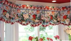 Valance mounted on a bay window. She saw this Scalamandre fabric at my home and said she had to have something in her home with it.