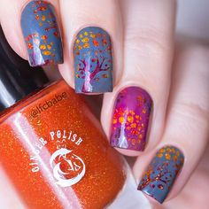 "For #clairestelle8oct ""Autumn Colours"" - reverse stamped decals created with @messymansion MM19 and coloured in with @ginger_polish Mad Mango & Las Islas Canarias and @picturepolish Nemesis.  Давно у меня эта плитка #MessyMansion ждала этого маникюра)) Раскрашивала лаками #GingerPolish и #PicturePolish, штамповала красками Мундо."