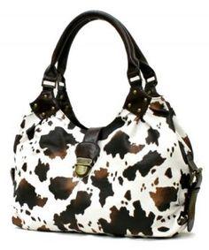 Cow Print Purse Handbag 607co Black