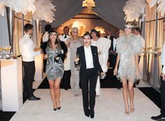 Kourtney Kardashian as Jay Gatsby & Kendall Jenner as Daisy attends Kris Jenner's 60th Birthday party.