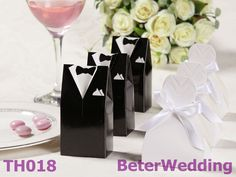 Free Shipping 624pcs=312pair Dress and Tuxedo Favor Boxes TH018 Wedding Gift and Wedding Souvenir
