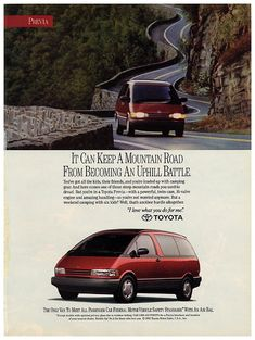 Toyota Previa ad. Toyota Previa, Car Brochure, Car Advertising, Japanese Cars, Automotive Design, Classic Toys, Electric Cars, Car Pictures, Art Cars
