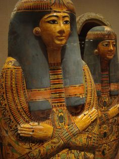 This important 21st dynasty priestess named Henuttawy, had three beautifully painted coffins nested within each other. I like the image of her faces lined up next to each other.