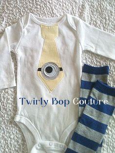 Minion birthday shirt tie bodysuit. Despicable Me inspired birthday outfit Baby Boy Gift Set, Tie Bodysuit & Leg Warmers / Leggings SET.