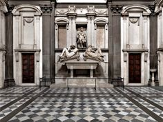 """San Lorenzo, Medici Chapels-with the Michelangelo statues of Giuliano and Lorenzo (not Lorenzo the Magnificent) and the tombs adorned with """"Day and Night,"""" """"Dawn and Dusk."""""""