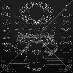 Chalkboard set of calligraphic design elements.