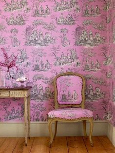 Matching fabric & wallpaper: pink toile