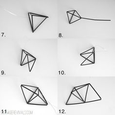 DIY geometric using cocktail straws and wire. Valentine Decorations, Valentine Crafts, Straw Sculpture, Diy Straw, Geometric Heart, Buy Crystals, Geometric Designs, Geometric Tiles, Aesthetic Room Decor