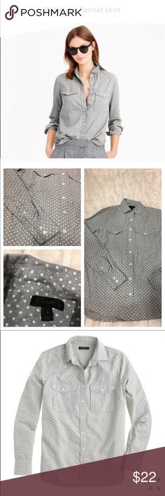 J. Crew polkadot flannel button down women top J. Crew polkadot flannel button down women top size 2 like new condition J. Crew Tops Button Down Shirts