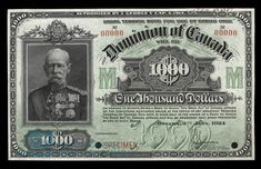 The Thousand Dollar Bill. 1954 devil's face, Dominion of Canada bank note, Bank of Canada bank note, Canadian currency, Bird Series one thousand dollars. Thousand Dollar Bill, Thousand Dollars, Canadian Things, Coins Worth Money, Coin Worth, Canadian History, Old Money, World Coins, 100 Dollar