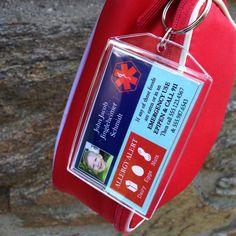SALE Allergy Alert ID 2-sided Acrylic Bag tag 2 x 3 by PennyBox