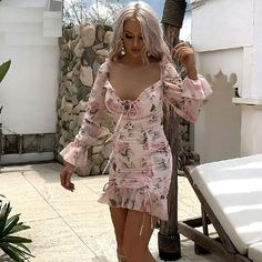 Chiffon Floral Print Ruffles Sexy Bodycon Mini Dresses - Power Day Sale #bodycondresses #Bodyconcollection #Trendyitems #OOTD #ootdfashion #summeroutfits #Lookbook #bodyconoutfits #PDSFashion Fall Collection, Mini Skirts, Mini Dresses, Cute Fall Outfits, Floral Chiffon, Fashion Colours, Types Of Sleeves, Ruffles, Floral Outfits