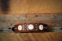 Leather Dog Collar // Silver and Spots by JandBCustomLeather, $36.00