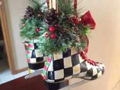 Hand Painted Christmas Ice Skate - Black and White Checked - SINGLE SKATE