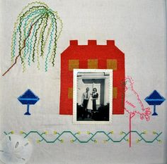 Folk Art Embroidery Family Home with Photograph - Emily and Keating