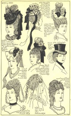 La Belle Assemblée 1870 - 1880  The Mode in Hats and Headdress: A Historical Survey with 198 Plates