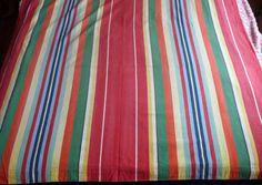 Vintage linen mattress ticking curtain drape French Cabana striped fabric window…