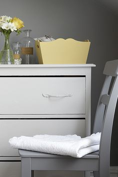 Walls - Lead, Box - Light Gold, Chair - Dark Lead, Chest of Drawers - French Grey (all Little Greene) Furniture, Warm Neutral Paint Colors, Interior, French Grey, Interior Wall Design, French Country Bedrooms, House Interior, Warm Yellow Paint Colors, Bedroom