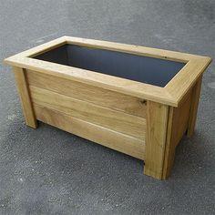 Macetero de madera de roble rectangular