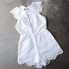 open back crochet eyelet romper - shophearts - 6