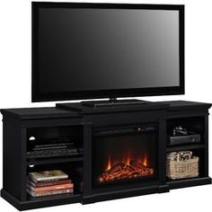 Home Decorators Collection Brivana 60 In Media Console Electric Fireplace In Espresso With