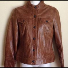 100% Distressed Leather Jean-Style Jacket