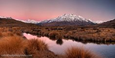 Alpenglow dawn panorama, Rangitata river valley, Mt D'Archiac on left, near Mt Sunday (Edoras village, Kingdom of Rohan in Lord of the Rings) and Mt Potts Station, Canterbury. Panorama New Zealand landscape : Colin Monteath