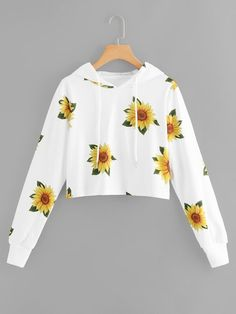 Cute Allover Sunflower Printed Long Sleeve Cropped White Hoodie Source by withchic Jackets Cute Lazy Outfits, Teenage Outfits, Crop Top Outfits, Outfits For Teens, Pretty Outfits, Stylish Outfits, Cool Outfits, Shirts For Teens, Hoodies For Girls