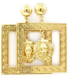 Bold and Gold Lion Head Earrings Square Lion Earrings Gold Greek Key Earrings