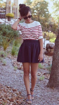 navy kick skirt with striped top and sandals.