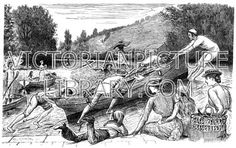Rowing Boat. Lighthearted Victorian picture showing four young men dragging their rowing boat up a weir on a river. They wear boaters and have their trousers rolled up. In the foreground two young women with  two children watch; the little boy wears a sailor suit and a stocking cap. Download high quality jpeg for just £5. Perfect for framing, logos, letterheads, and greetings cards.