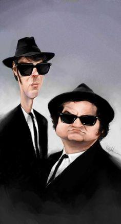 Gran caricatura del dúo cómico musical The Blues Brothers, creado para el…