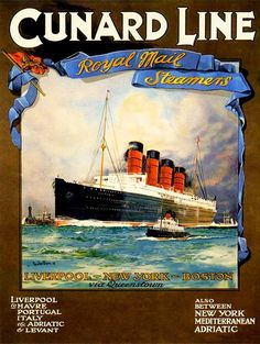 Cunard Line Lusitania Travel Poster Print  1907 by BloominLuvly, $9.95