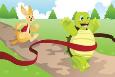 Illustration about A vector illustration of tortoise and hare racing. Illustration of tortoise, turtle, story - 27019184 Rabbit And Tortoise, Hare & Tortoise, Tortoise Turtle, Animal Story Books, Kids Story Books, Picture Story For Kids, Bell The Cat, Short Stories For Kids, Kids Stories