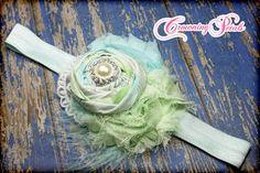 Mint, Aqua, Sky Blue Headband, Hair Accessories, Baby Hair Bow, Light Turquoise Fabric Flowers, Flower Bow, Hair Clip, Hair Piece. $16.50, via Etsy.