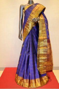 Blue Hand Woven Kanjeevaram Silk Saree Product Code: AB200255
